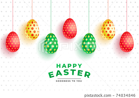 colorful pattern 3d eggs for easter day 74834846