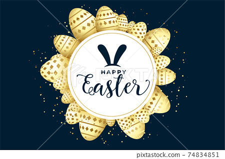 happy easter celebration background with eggs frame 74834851