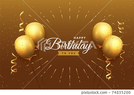 happy birthday celebration background in golden theme 74835200