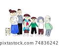 可愛的手繪三代家庭,兩戶家庭和寵物,嬰兒和小學生繪製的作品圖像 74836242