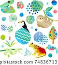 雨林中動物的透明背景水彩風格插圖素材 74836713