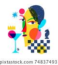 Chess abstract modern style line art woman portrait design. 74837493