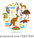 Birds and animals of Australia in round design. 74837494