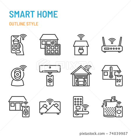 Smart Home related in outline icon and symbol set 74839987