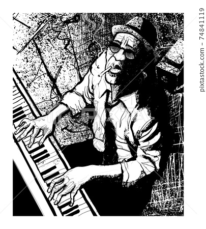 Piano jazz - Male pianist practicing 74841119