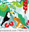 雨林動物的炫彩無縫花紋材料 74841127