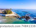 겨울 磯浜 해안 天妃山과 먼 二쯔島 (이바라키 현 기타 이바라키시) 74841336