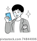 People who are happy to win the game gacha ・ People who are happy to contact the smartphone ・ Simple vector 74844006