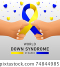 Down syndrome world day vector poster with blue and yellow ribbon. Social poster 21 March World Down Syndrome Day. 74844985