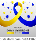 Down syndrome world day vector poster with blue and yellow ribbon. Social poster 21 March World Down Syndrome Day. 74844987