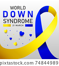 Down syndrome world day vector poster with blue and yellow ribbon. Social poster 21 March World Down Syndrome Day. 74844989