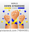 Down syndrome world day vector poster with blue and yellow ribbon. Social poster 21 March World Down Syndrome Day. 74844991