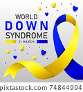 Down syndrome world day vector poster with blue and yellow ribbon. Social poster 21 March World Down Syndrome Day. 74844994