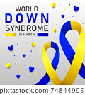 Down syndrome world day vector poster with blue and yellow ribbon. Social poster 21 March World Down Syndrome Day. 74844995