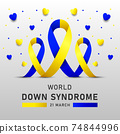 Down syndrome world day vector poster with blue and yellow ribbon. Social poster 21 March World Down Syndrome Day. 74844996