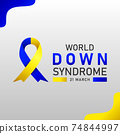 Down syndrome world day vector poster with blue and yellow ribbon. Social poster 21 March World Down Syndrome Day. 74844997