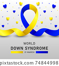 Down syndrome world day vector poster with blue and yellow ribbon. Social poster 21 March World Down Syndrome Day. 74844998