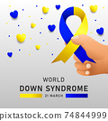 Down syndrome world day vector poster with blue and yellow ribbon. Social poster 21 March World Down Syndrome Day. 74844999