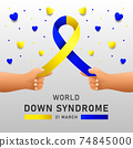 Down syndrome world day vector poster with blue and yellow ribbon. Social poster 21 March World Down Syndrome Day. 74845000