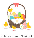 Basket with cute chickens 74845787