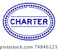 Grunge blue charter word oval rubber seal stamp on white background 74846123
