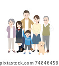 Three generations family, family gathering, smile, whole body, illustration material 74846459