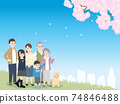 Three-generation family, cherry-blossom viewing, landscape overlooking cherry blossoms, illustration material 74846488