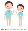 Full-body illustration of helper men and women 74848245