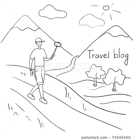 Travel blogger. Young man records video. Guy takes off the vlog while traveling. Social media star talks about life to his followers. Vector hand drawn illustration in cartoon style 74848460