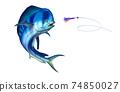 Blue plastic dolphin fish attacks bait sea swim squids skirt. 74850027