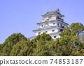 美麗的唐津城堡在佐賀縣唐津市 74853187