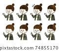Schoolgirl facial expression set-watercolor 74855170