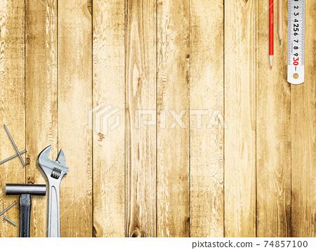 공구와 나뭇결의 배경 소재 - 여러 종류가 있습니다 74857100