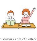 小學班級男女手寫的線條藝術彩色插圖 74858672