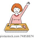 手寫的線條藝術彩色插圖,舉手的女孩,教室的課桌 74858674