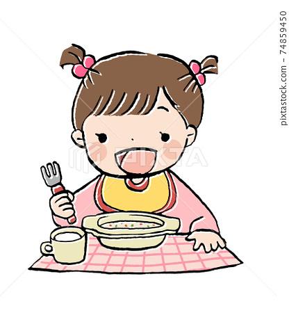 一個女孩在良好的心情吃嬰兒食品的插圖 74859450