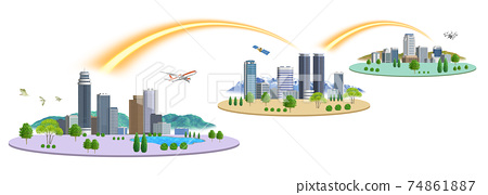 There are variations of cityscape illustrations of 3 cities connected by a network 74861887