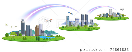 There are variations of cityscape illustrations of 3 cities connected by a network 74861888