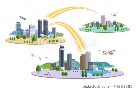 There are variations of cityscape illustrations of 3 cities connected by a network 74861889
