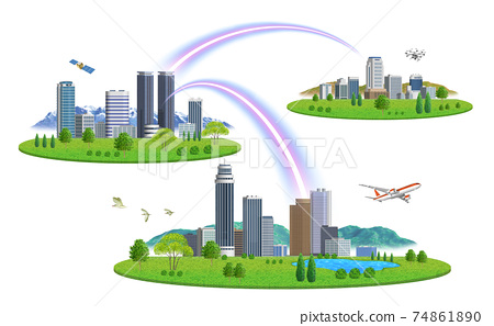There are variations of cityscape illustrations of 3 cities connected by a network 74861890