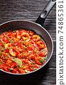 Prawn karahi - tomato shrimp curry, top view 74865361