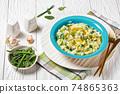 Irish colcannon potato mash with kale, top view 74865363