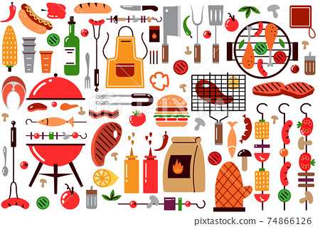Barbecue doodle set 74866126