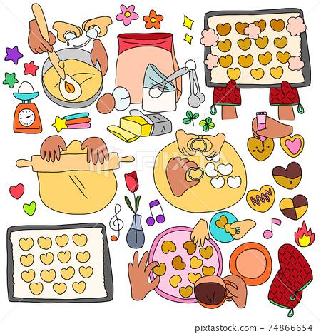 수제 쿠키를 만드는 부모의 손 장식 소재 일러스트 74866654