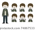 Facial expression set for male students 74867533