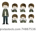 Male Student Facial Expression Set-Watercolor 74867536