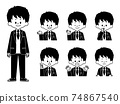 Male Student Facial Expression Set-Black and White 74867540