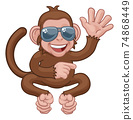 Monkey Sunglasses Cartoon Animal Waving Pointing 74868449