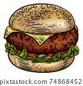 Burger Hamburger Vintage Woodcut Illustration 74868452