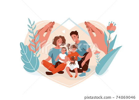 Family protection, support with children vector background. Mother, father, daughter and son sitting together and hugging each other. Hands hug people, flowers and leaves nature. Home concept 74869046